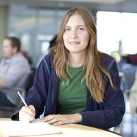 Undergraduate student studying